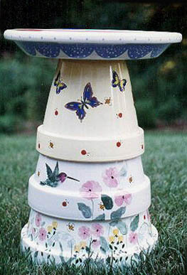 flower pot bird baths